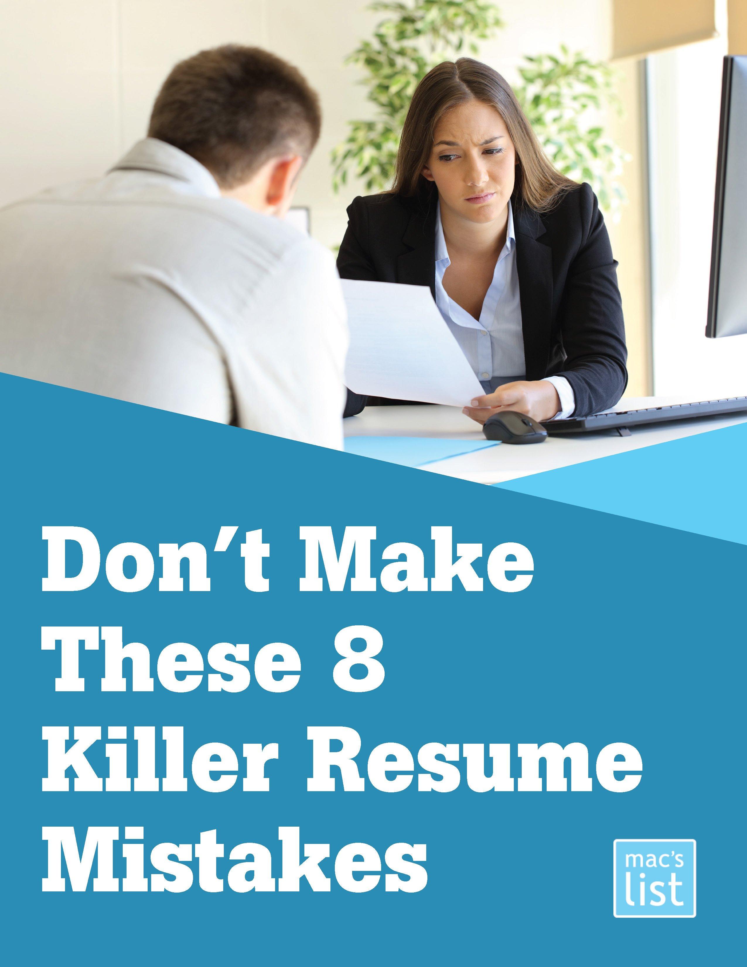don't make these 8 killer resume mistakes